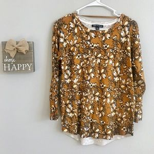 Cable & Gauge Gold Floral Sweater